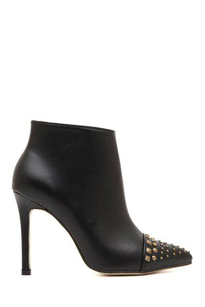 Gorgeous Pointed Toe and Rivets Design Women's Ankle Boots - BLACK 35