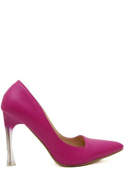 Graceful Solid Color and Pointed Toe Design Women's Pumps - PEACH RED 35