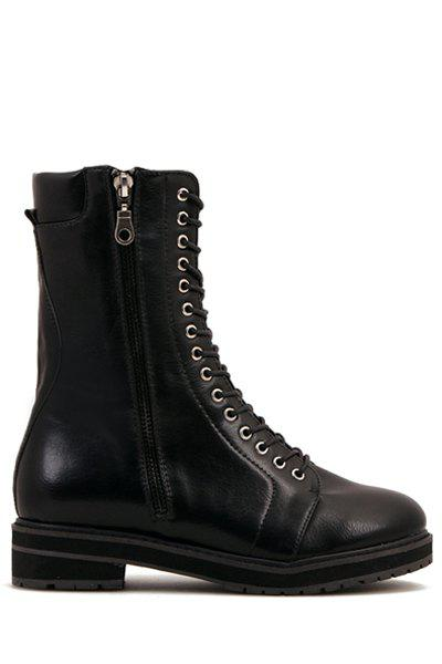 Stylish Black and Lace-Up Design Women's Combat Boots - BLACK 35