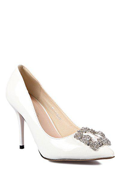 Gorgeous Stiletto Heel and Rhinestones Design Women's Pumps - WHITE 36