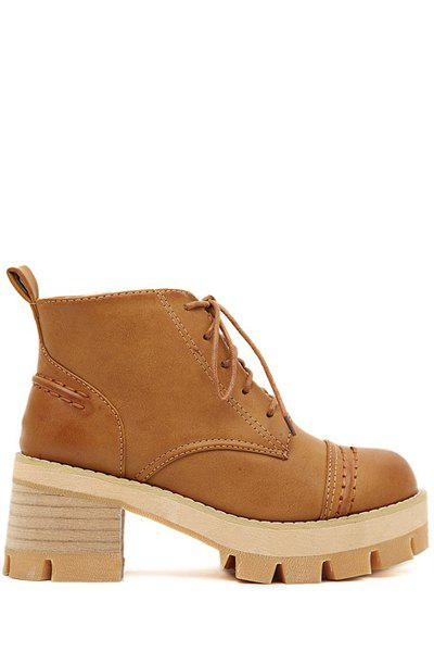 Stylish Round Toe and Stitching Design Women's Ankle Boots - BROWN 35