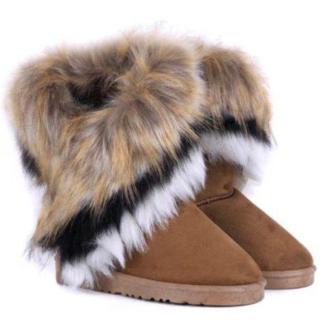 Faux Fur Mid Calf Snow Boots - BROWN 35