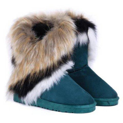 Faux Fur Mid Calf Snow Boots - BLUE 35