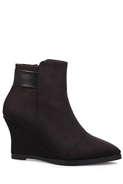 Elegant Splice and Pointed Toe Design Women's Ankle Boots - BLACK 34
