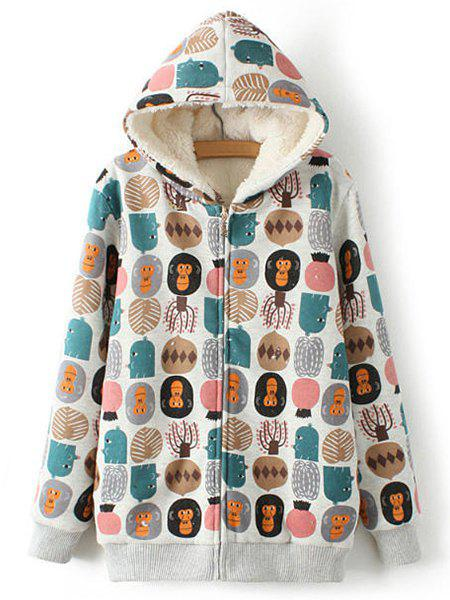 Monkey and Tree Print Lamb Wool Sweet Style Hooded Long Sleeve Coat For Women - GRAY ONE SIZE(FIT SIZE XS TO M)