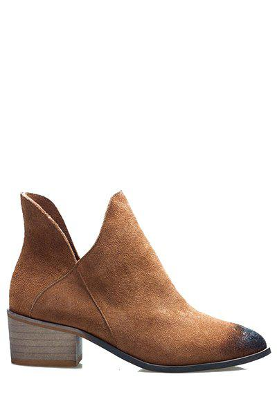 Simple Pointed Toe and Suede Design Women's Ankle Boots - BROWN 35