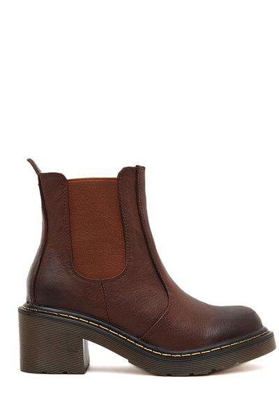 Stylish Elastic and Round Toe Design Women's Ankle Boots - BROWN 35