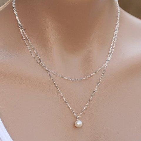 Noble Solid Color Faux Pearl Embellished Multi-Layered Women's Necklace - SILVER