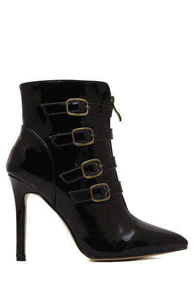 Sexy Patent Leather and Buckle Design Women's Ankle Boots - 35 BLACK
