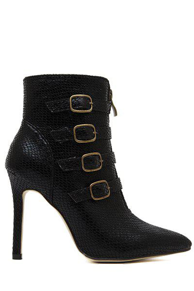 Sexy Snake Print and Buckle Design Women's Ankle Boots