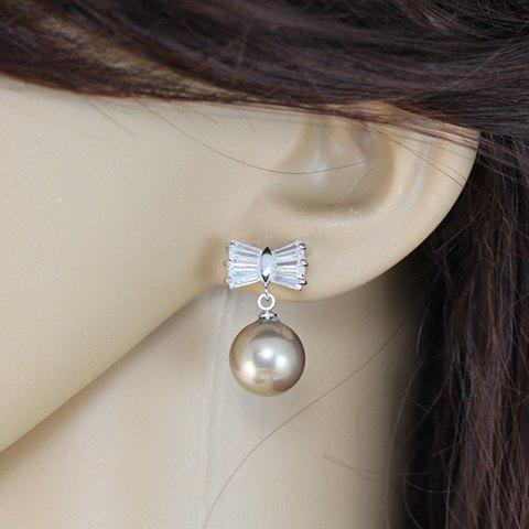 Pair of Delicate Women's Rhinestone Faux Pearl Bowknot Design Earrings - SILVER GRAY