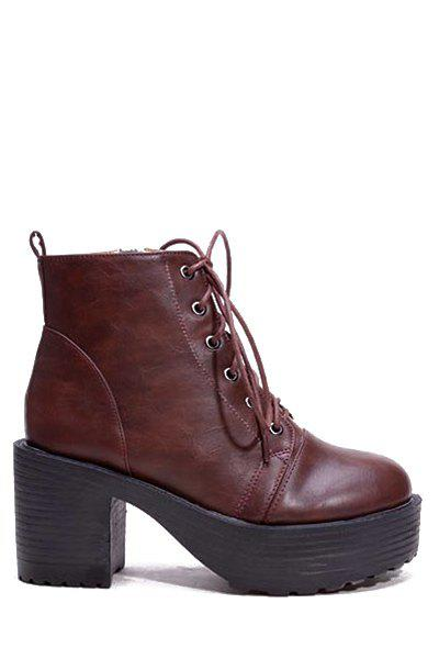 Simple Style Solid Color and Palatform Design Women's Ankle Boots - BROWN 35