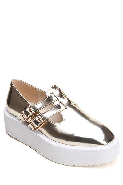 Stylish Square Toe and Buckle Design Women's Platform Shoes - GOLDEN 35