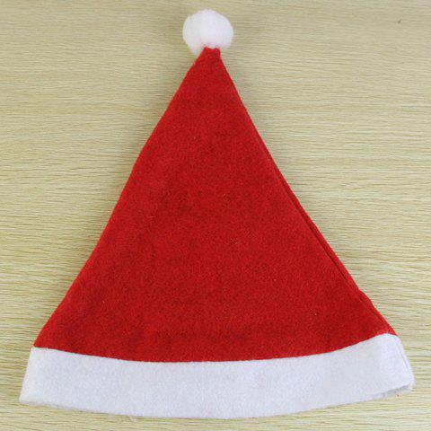 Chic Downy Ball Decorated Christmas Hat For Men and Women - RED/WHITE