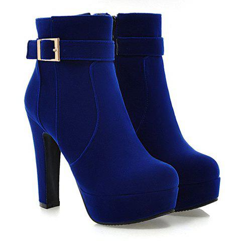 Stylish Chunky Heel and Buckle Design Suede Short Boots For Women - BLUE 39