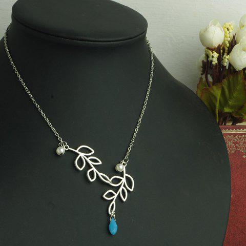 Graceful Solid Color Leaf Shape Openwork Pendant Women's Necklace - AS THE PICTURE