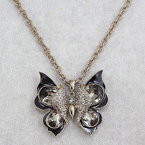 Fashion Women's Rhinestone Butterfly Design Sweater Chain Necklace