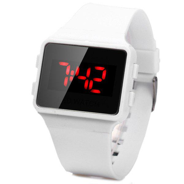 Buy Electronic Watch Students Red LED Digital Rubber Strap WHITE