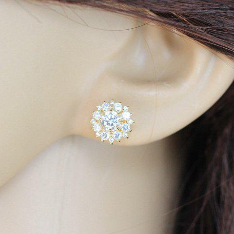 Pair of Fashion Women's Rhinestone Floral Design Earrings