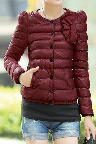 Stylish Round Neck Long Sleeve Solid Color Single-Breasted Women's Coat - CLARET L