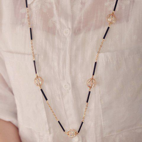 Dazzling Zircon Embellished Women's Sweater Chain Necklace -  COLORMIX