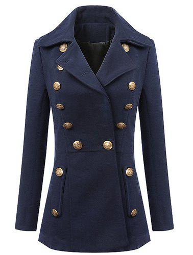 Lapel Solid Color Buttons Fashionable Long Sleeve Coat For Women