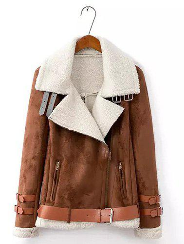 Golilla Splicing Lamb Wool Zipper Fashionable Long Sleeve Coat For Women