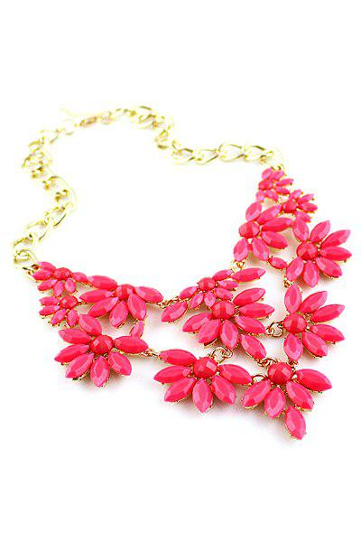 Colorful Faux Gem Decorated Openwork Floral Pendant Necklace - ROSE MADDER