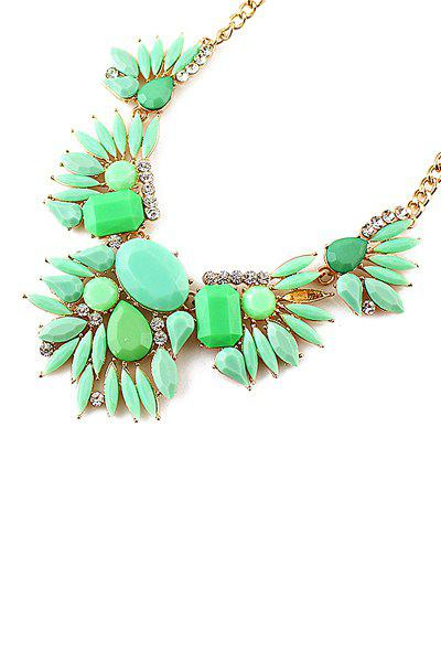 Colorful Faux Gem Spelicing Openwork Pendant Necklace - GREEN