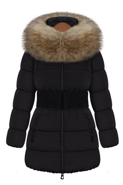 Casual Long Sleeve Hooded Faux Fur Embellished Coat For Women - BLACK XL