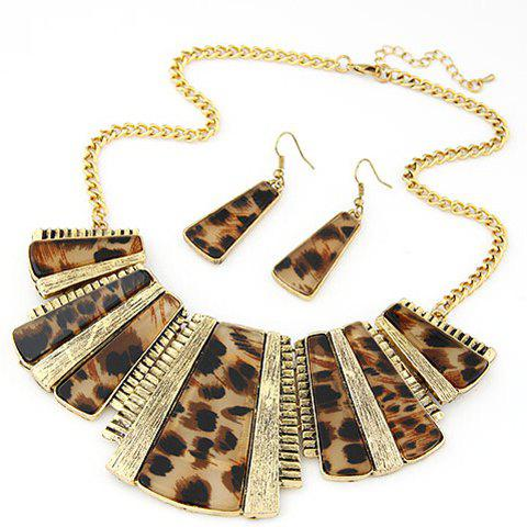 Leopard Print Geometric Necklace and Earrings - COLORFUL