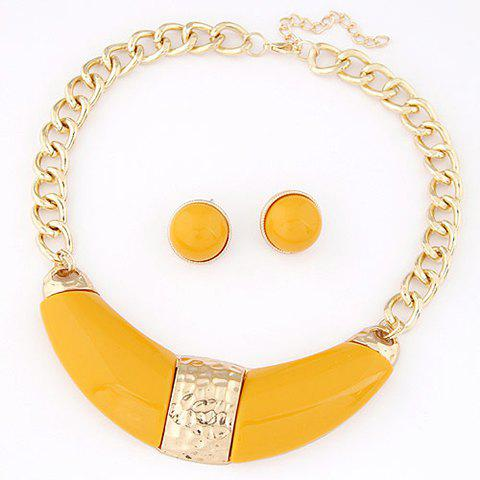 Cute Solid Color Pendant Women's Necklace and A Pair of Earrings - YELLOW