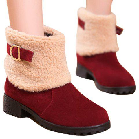 Fashion Buckle and Plush Design Women's Suede Short Boots - RED 41