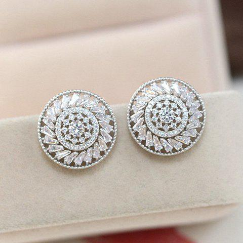 Pair of Delicate Gorgeous Women's Rhinestone Round Shape Design Earrings - SILVER