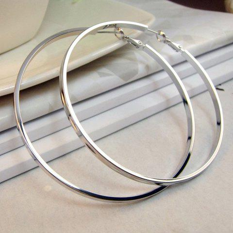 Pair of Smooth Round Shape Design Earrings - SILVER