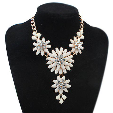 Stylish Women's Beads Flower Shape Design Necklace - WHITE