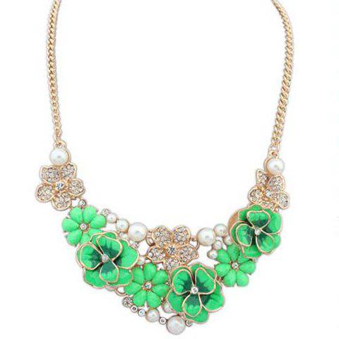 Sweet Rhinestone and Faux Pearl Embellished Women's Necklace - GREEN