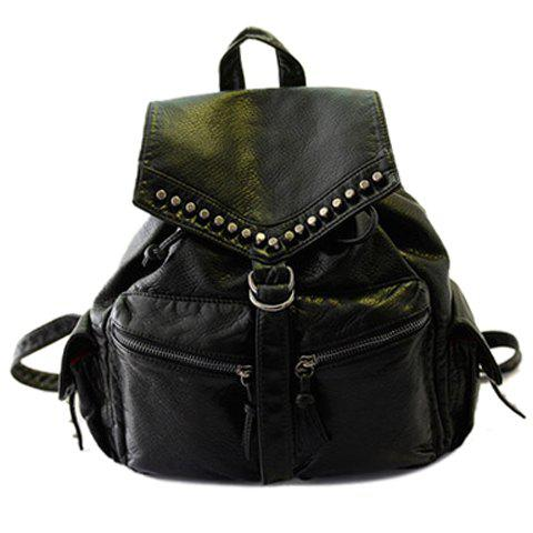 Trendy Zipper and Rivets Design Satchel For Women - BLACK