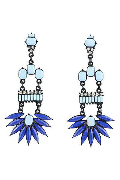Pair of Colorful Geometric Faux Gem Splicing Pendant Earrings - BLUE