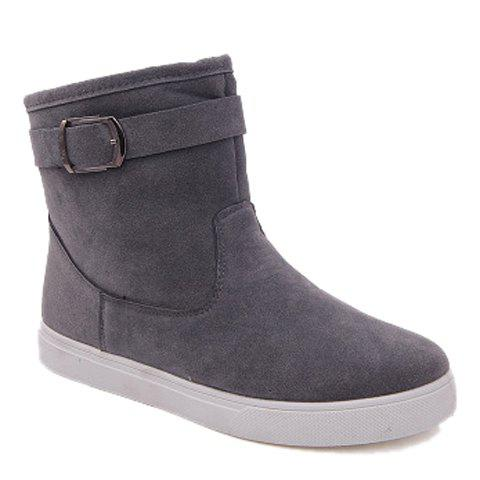 Simple Suede and Buckle Design Boots For Men - GRAY 39