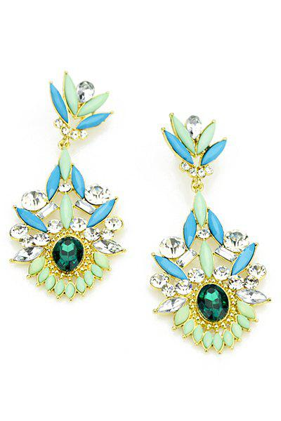 Pair of Diamante Colorful Flower Pendant Earrings - GREEN