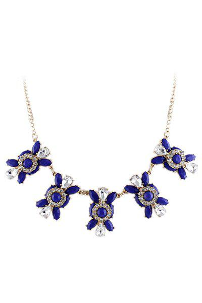 Faux Blue Gem Decorated Flower Pendant Necklace - BLUE