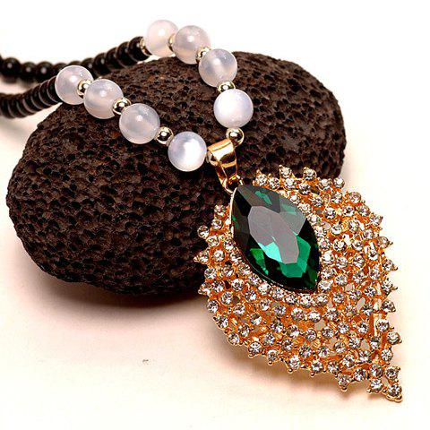 Chaste Solid Color Rhinestone Embellished Special Shape Women's Sweater Chain Necklace - GREEN