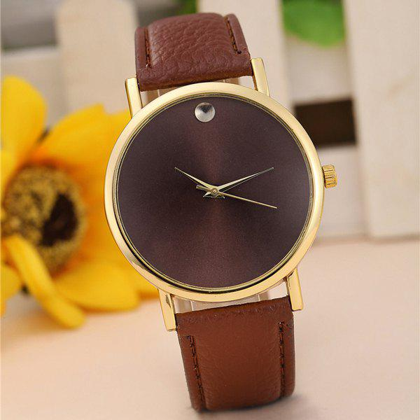 Geneva Female Quartz Watch Round Dial Leather Watchband - BROWN