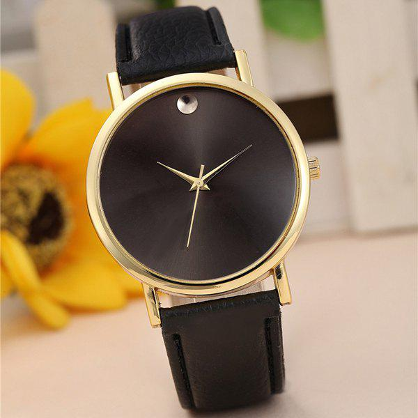 Geneva Female Quartz Watch Round Dial Leather Watchband - BLACK