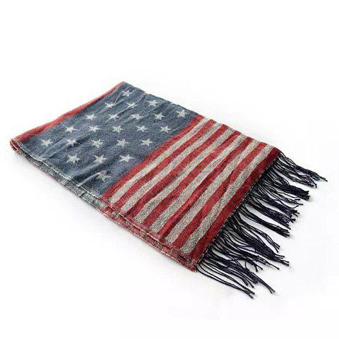 Chic Star and Stripe Pattern Fringe Decorated Multicolor Women's Scarf - COLOR ASSORTED