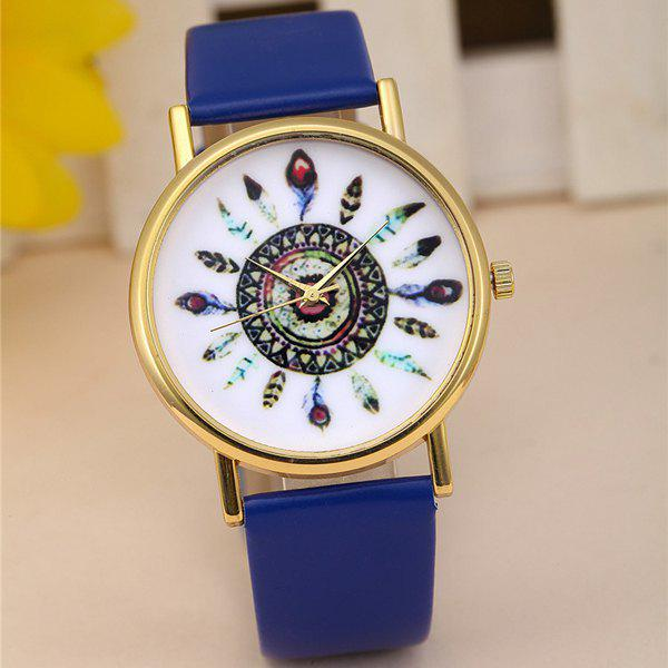 Female Feather Quartz Watch Round Dial Leather Watchband - BLUE