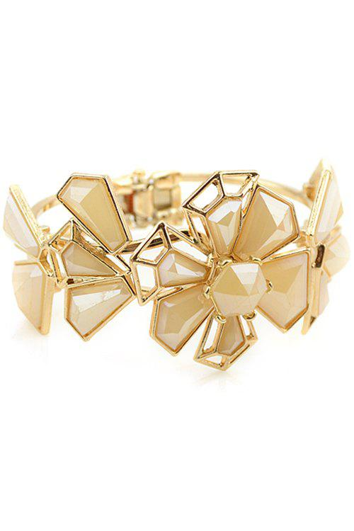 Flower Faux Gem Decorated Openwork Bracelet - APRICOT