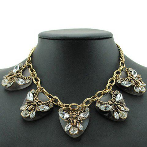 Retro Chic Women's Colored Beads Butterfly Shape Design Necklace - WHITE
