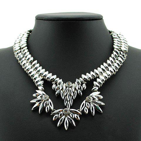 Retro Chic Women's Beads Leaf Shape Design Necklace - SILVER